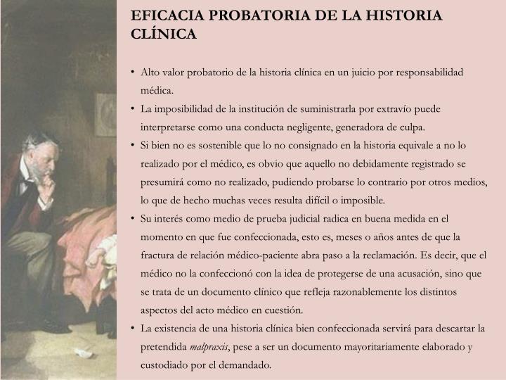 EFICACIA PROBATORIA DE LA HISTORIA CLÍNICA