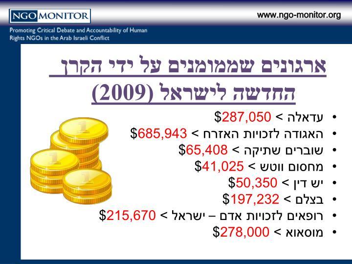 ארגונים שממומנים על ידי הקרן  החדשה לישראל (2009)