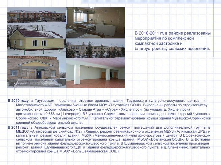 В 2010-2011 гг. в районе реализованы мероприятия по комплексной компактной застройке и благоустройству сельских поселений.
