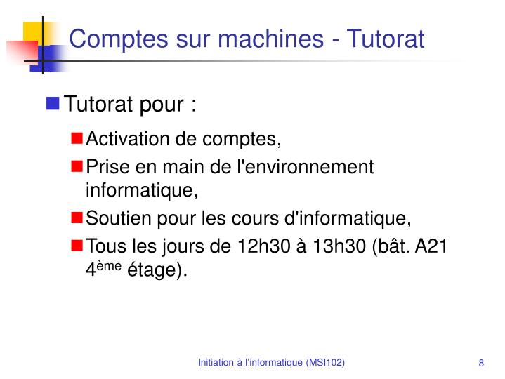 Comptes sur machines - Tutorat