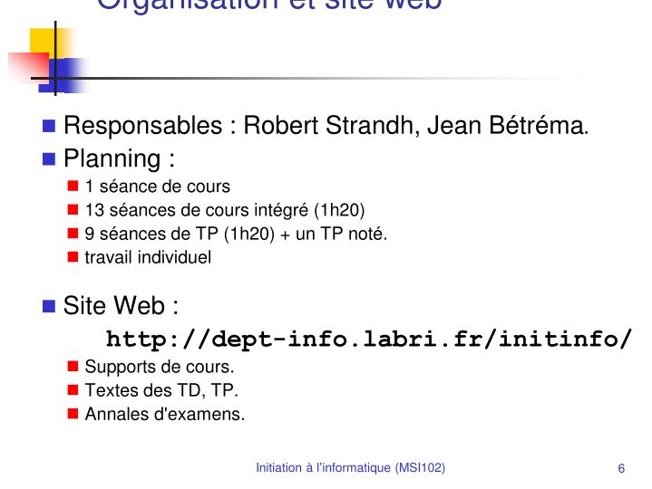 Organisation et site web