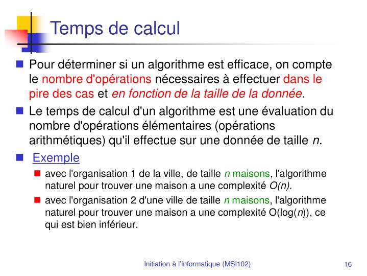 Temps de calcul