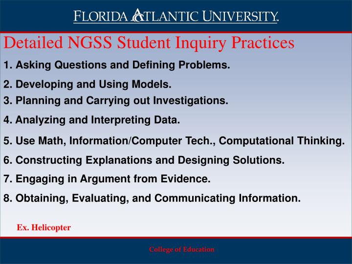 Detailed NGSS Student Inquiry Practices