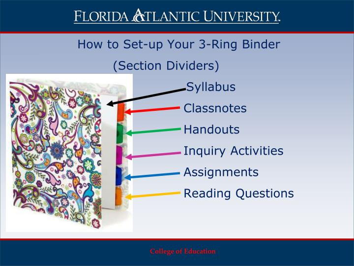 How to Set-up Your 3-Ring Binder