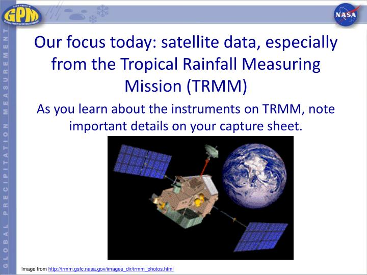 Our focus today: satellite data, especially from the Tropical Rainfall Measuring Mission (TRMM)