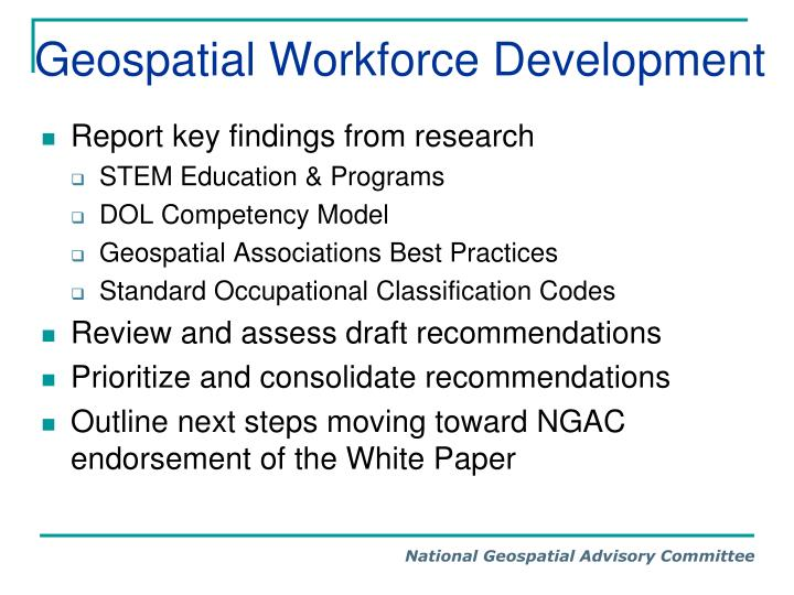 Geospatial Workforce Development