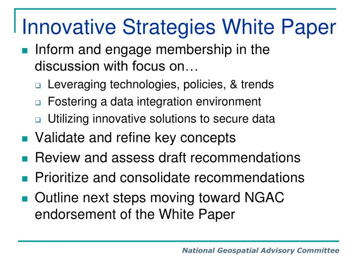 Innovative strategies white paper