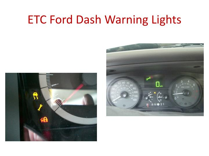 ETC Ford Dash Warning Lights