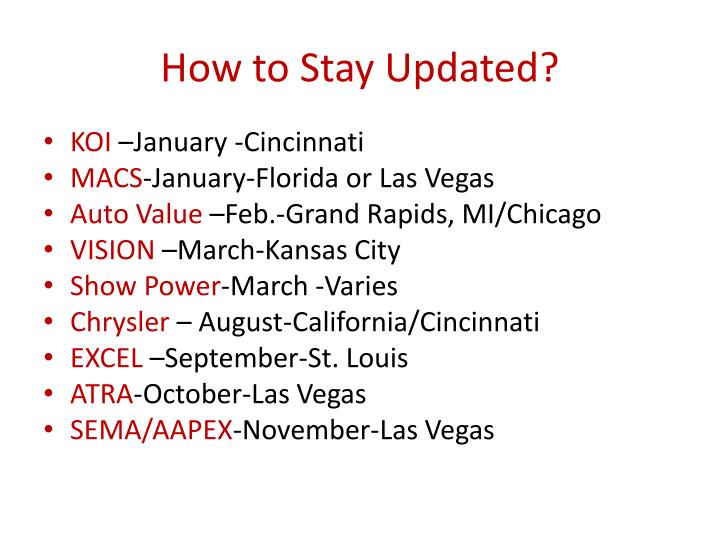 How to Stay Updated?