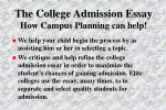 the college admission essay how campus planning can help