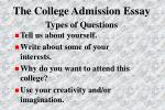 the college admission essay types of questions