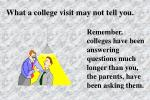 what a college visit may not tell you