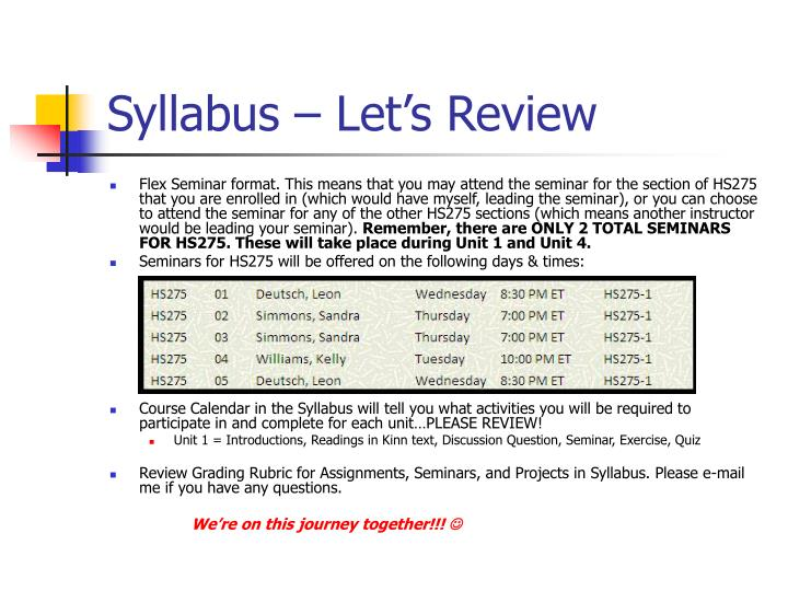 Syllabus – Let's Review
