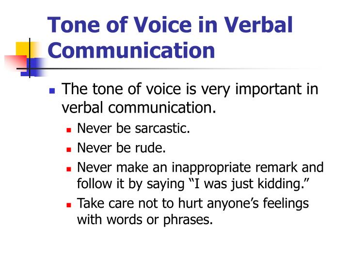 Tone of Voice in Verbal Communication