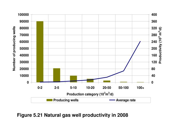 Figure 5.21 Natural gas well productivity in 2008