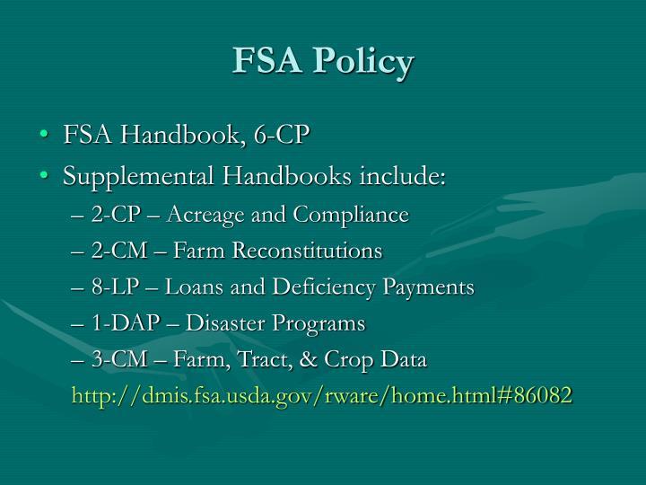 FSA Policy
