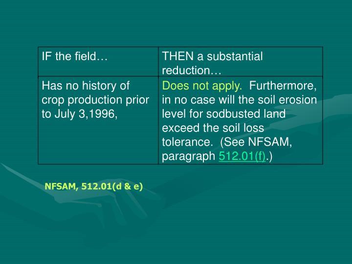 NFSAM, 512.01(d & e)