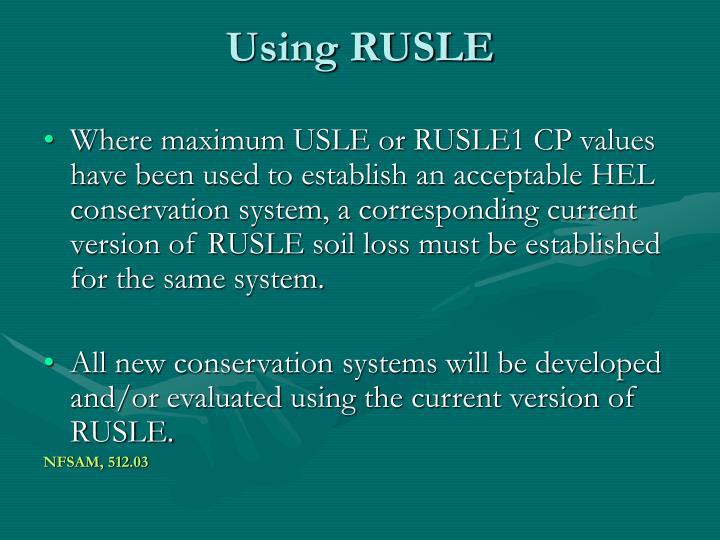Using RUSLE