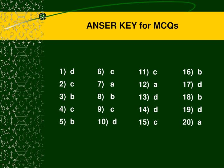 ANSER KEY for MCQs