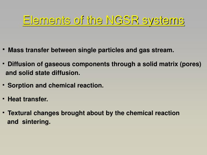 Elements of the NGSR systems