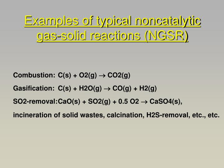 Examples of typical noncatalytic gas-solid reactions (NGSR)
