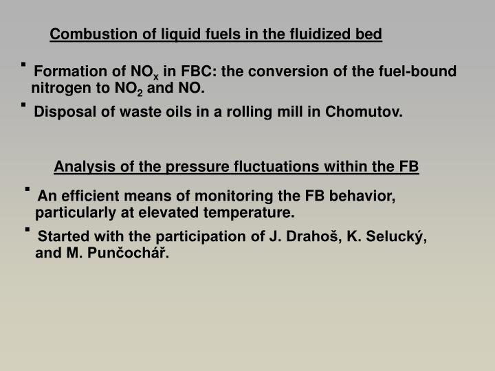 Combustion of liquid fuels in the fluidized bed