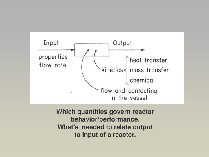 Which quantities govern reactor behavior/performance.