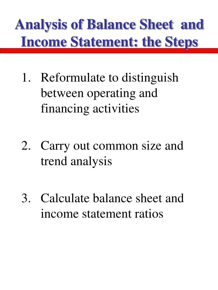 Analysis of Balance Sheet  and Income Statement: the Steps