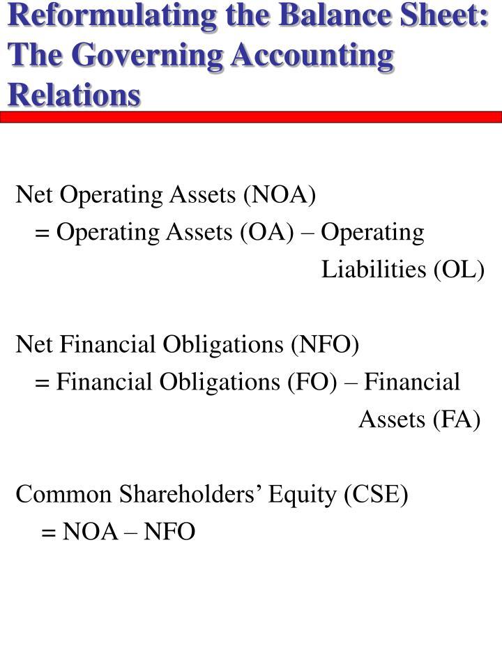 Reformulating the Balance Sheet: