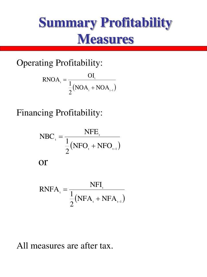 Summary Profitability Measures