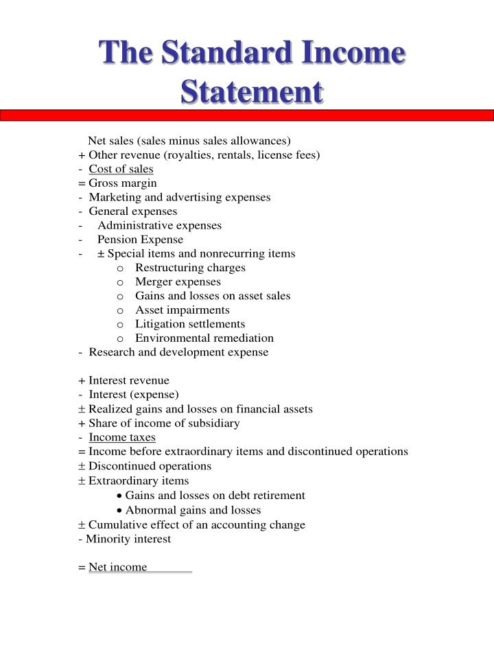 The Standard Income Statement