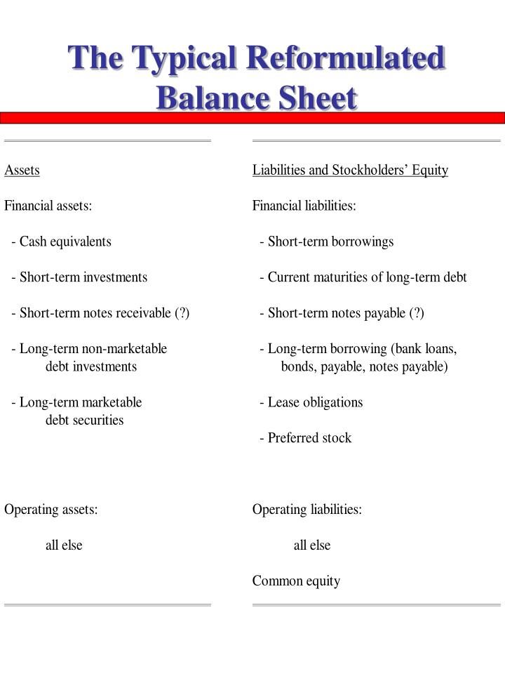 The Typical Reformulated Balance Sheet