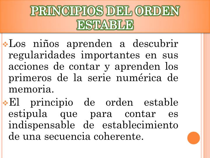 PRINCIPIOS DEL ORDEN ESTABLE