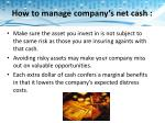 how to manage company s net cash