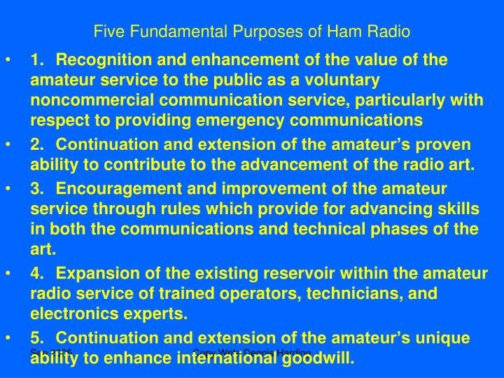 Five Fundamental Purposes of Ham Radio