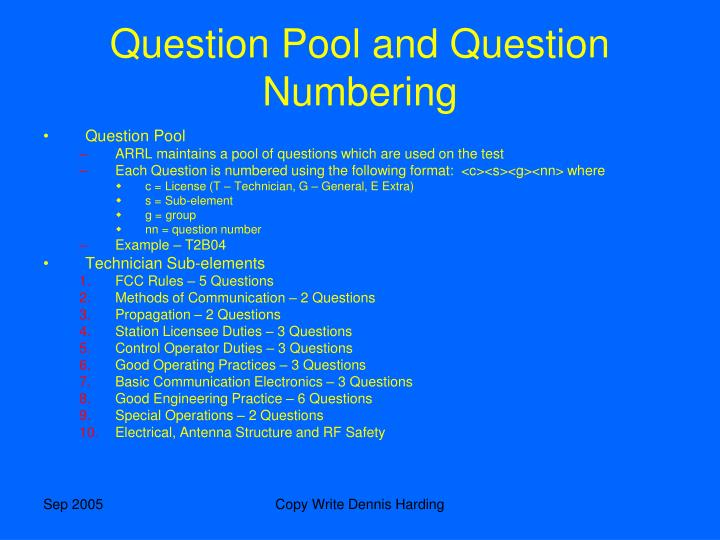 Question Pool and Question Numbering
