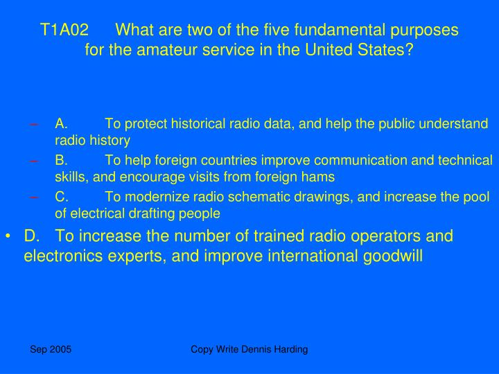 T1A02What are two of the five fundamental purposes for the amateur service in the United States?