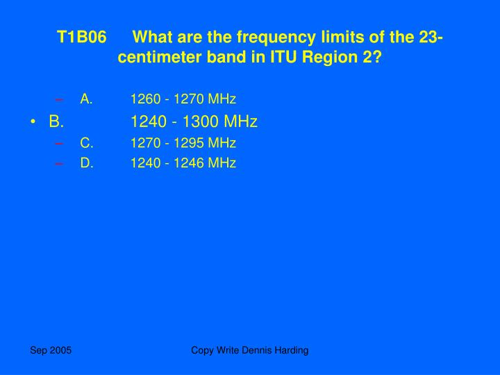 T1B06What are the frequency limits of the 23-centimeter band in ITU Region 2?