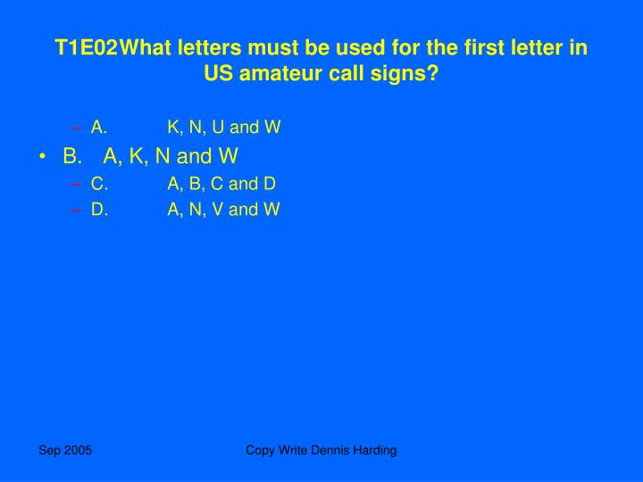 T1E02	What letters must be used for the first letter in US amateur call signs?