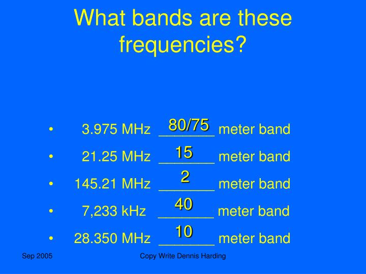 What bands are these frequencies?