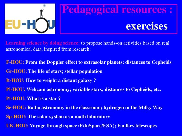 Pedagogical resources :