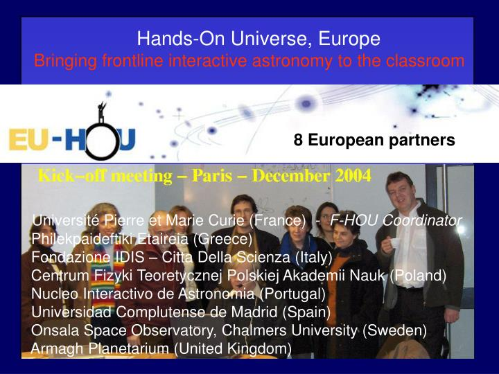 Hands-On Universe, Europe