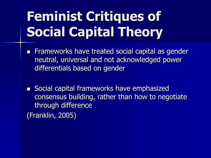 Feminist Critiques of Social Capital Theory