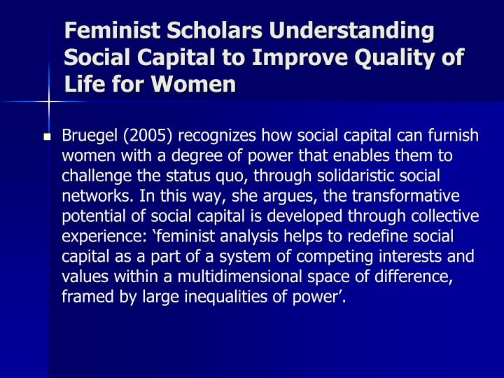 Feminist Scholars Understanding Social Capital to Improve Quality of Life for Women