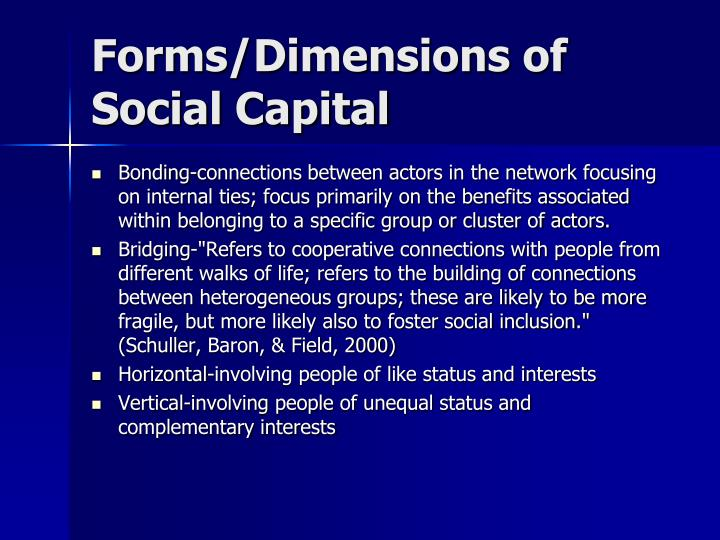 Forms/Dimensions of Social Capital