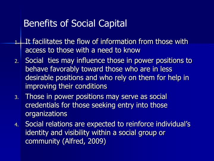 Benefits of Social Capital
