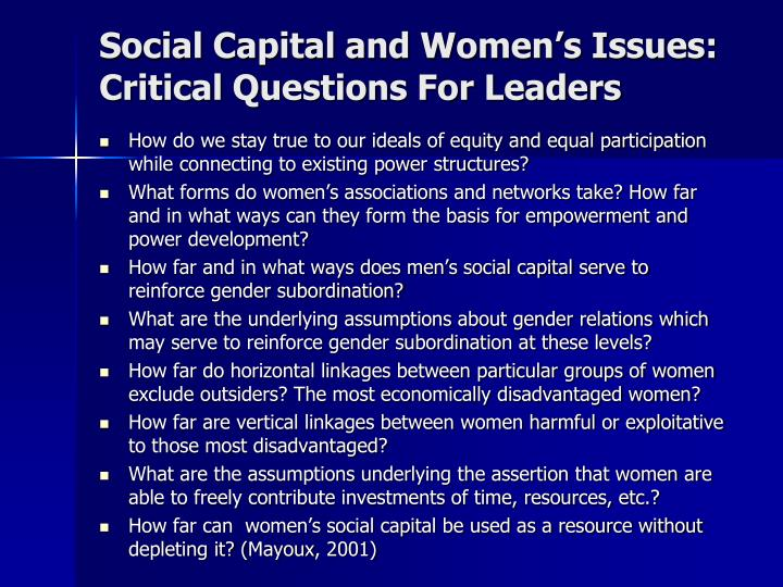 Social Capital and Women's Issues: Critical Questions For Leaders