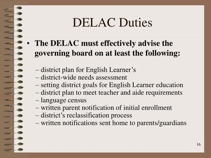 DELAC Duties