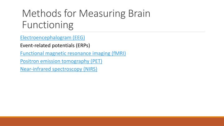 Methods for Measuring Brain Functioning