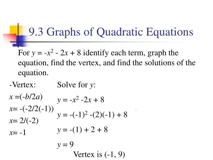 9.3 Graphs of Quadratic Equations